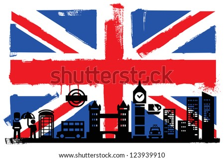 Illustration of the UK flag and silhouettes - stock vector