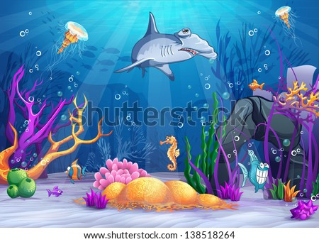 Illustration of the underwater world with a funny fish and hammerhead shark - stock vector