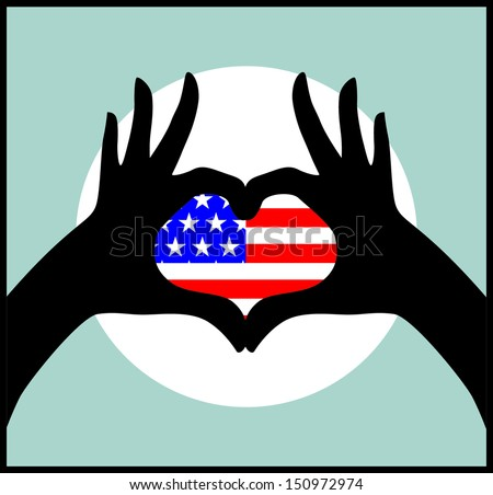 Illustration of the USA flag with hand - stock vector
