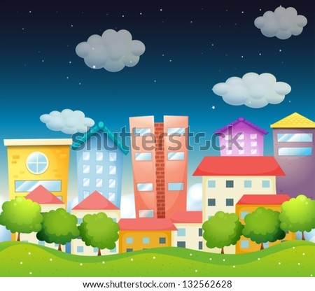 Illustration of the view of the city in the middle of the night - stock vector