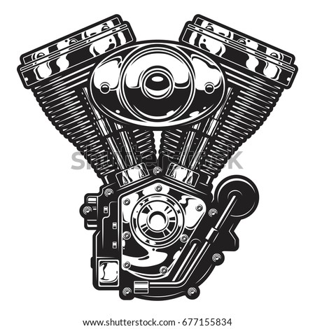 illustration of the vintage custom motorcycle chopper engine monochrome style
