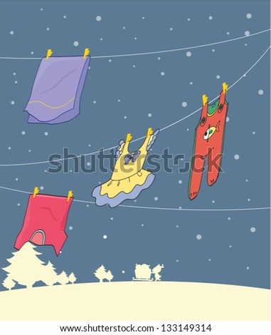 Illustration of the washed clothes hanging under a snowy season