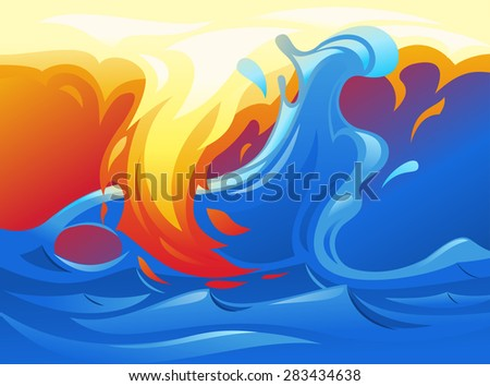 Illustration of the water and fire looking like yin and yang symbol - stock vector