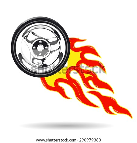 Illustration of the wheel of the car on fire - stock vector