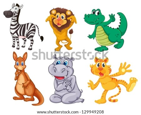 Illustration of the wild and scary animals on a white background - stock vector