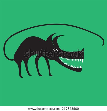 Illustration of the wolf done in cartoon style - stock vector