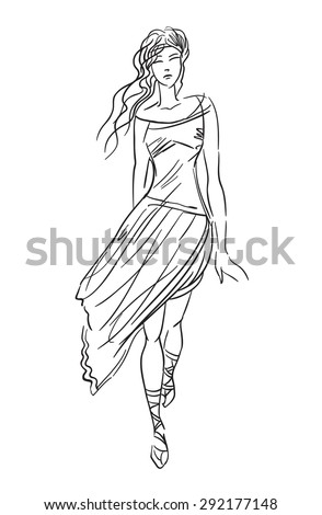 Illustration of the woman in greece dress. - stock vector