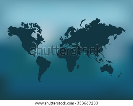 Illustration of the world map on a colorful blue background. - stock vector