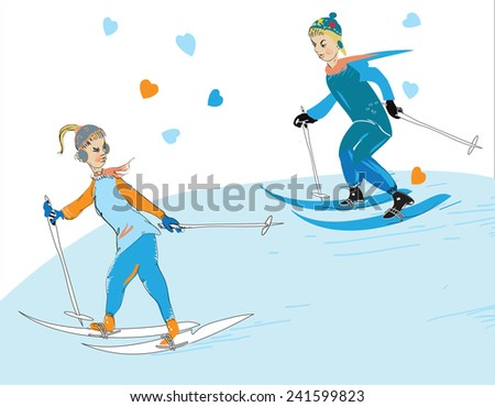 Illustration of the young couple skiing, love and winter sports concept