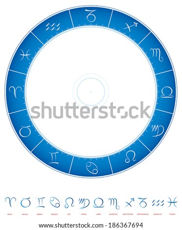 Illustration of the zodiac, a circle of twelve 30 degree divisions with the 12 astrological signs - calligraphic style. - stock vector