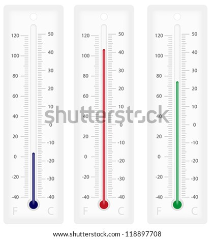 Illustration of thermometers with Celsius and Fahrenheit scales - isolated on white - stock vector