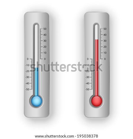 illustration of thermometers with hot and cold levels