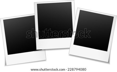 illustration of three blank photos on white background - stock vector