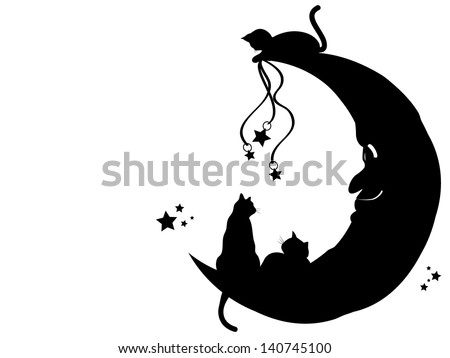 Illustration of three cats playing with the man in the moon. - stock vector