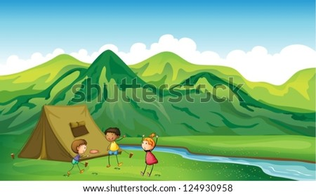 Illustration of three children playing near a camp site - stock vector