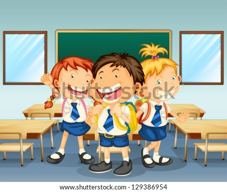 Illustration of three children smiling inside the classroom