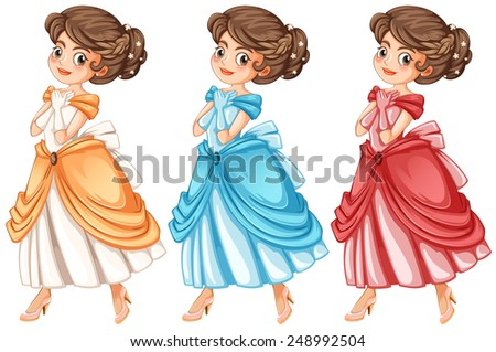 Illustration of three princesses in a dress - stock vector
