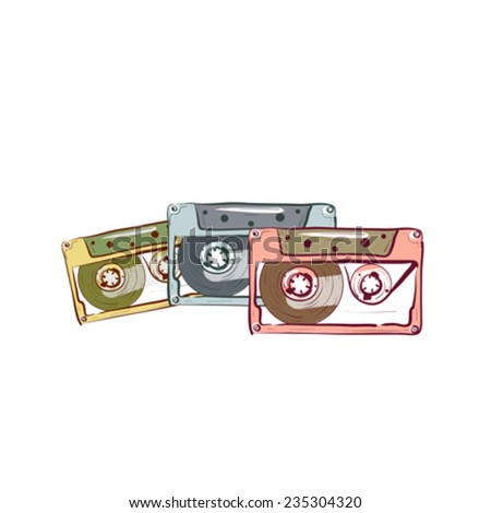Illustration of three vintage audio cassette isolated on white background - stock vector