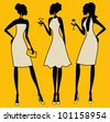 Illustration of three young elegant women at a cocktail party. - stock vector