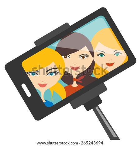 Illustration of three young girls making photo. Vector. - stock vector