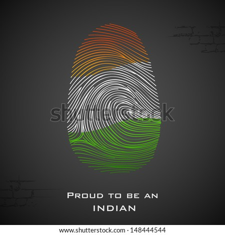 illustration of thumbprint in Indian color showing proud to be an India - stock vector