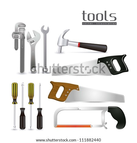 Illustration of tools, with a pipe wrenches, hammer, hacksaw, screwdrivers, hand saw and tool box, vector illustration