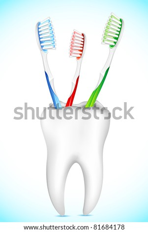 illustration of tooth brush kept in tooth shape stand - stock vector