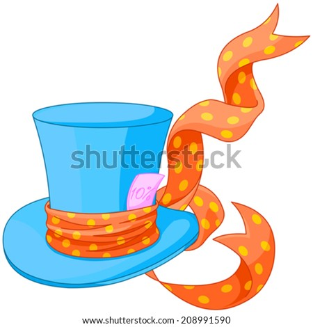 Illustration of Top hat of Mad Hatter - stock vector
