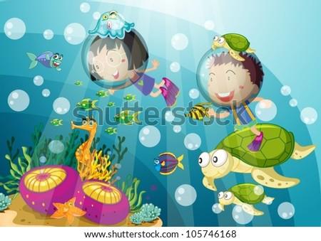 illustration of tortoise and kids in submarine - stock vector
