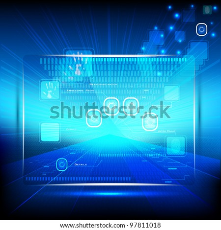illustration of touch screen on hi-tech futuristic background - stock vector