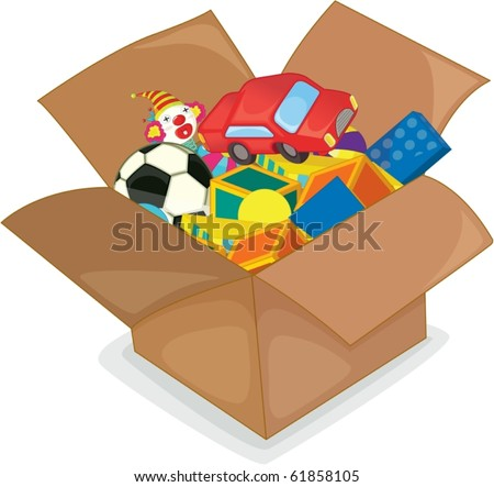 illustration of toys on a white background - stock vector