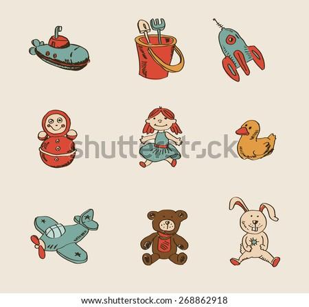 illustration of toys. Vector illustration.  - stock vector
