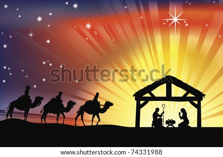 Illustration of traditional Christian Christmas Nativity scene with the three wise men - stock vector