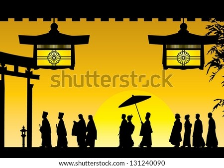 Illustration of traditional Japanese wedding silhouette at Meiji shrine in Japan, vector - stock vector