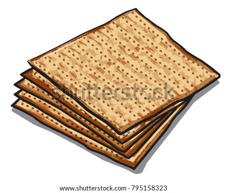 illustration of traditional jewish matzoh on white background