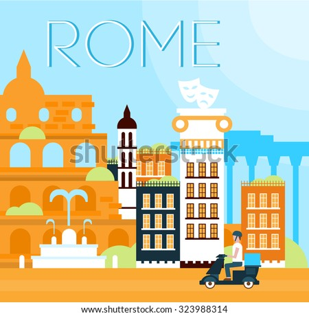 Illustration of traditional Roma background in flat style vector illustration - stock vector