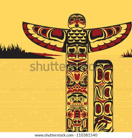 Illustration of traditional tribal north American totem pole, made in Canadian native art style - stock vector