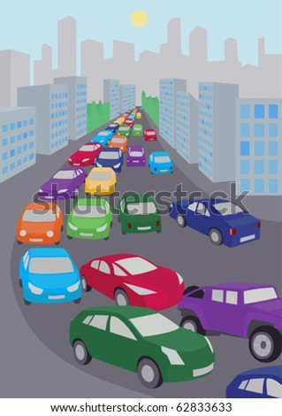 illustration of traffic jam with  lots of colored cars - stock vector