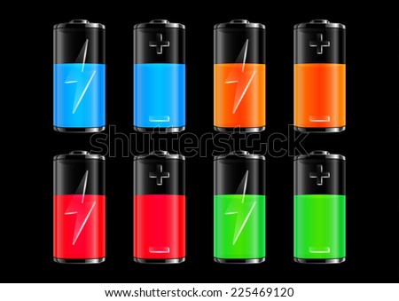Illustration of transparent batteries with charge indicators in various colors  - stock vector