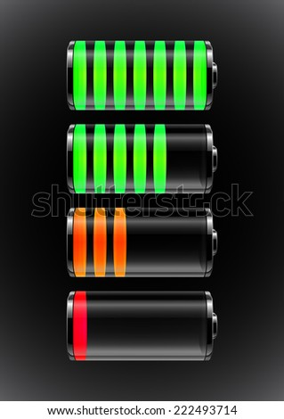 Illustration of transparent batteries with colorful charge indicators  - stock vector