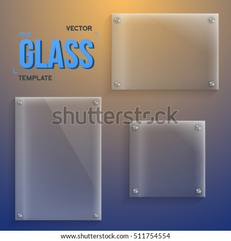 Illustration of Transparent Vector Glass. Set of Realistic Vector Glass Frame Templates. EPS10 Vector Plastic Plate Set.