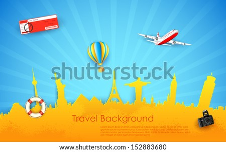 illustration of travel background with monument and airplane - stock vector