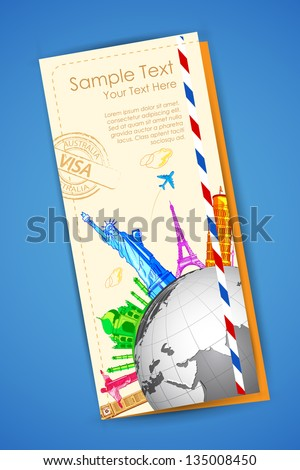 illustration of travel brochure with world famous monuments - stock vector