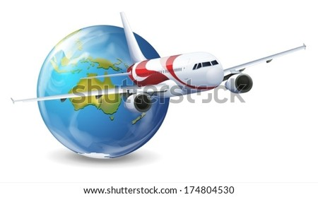 Illustration of travel concept - Earth and airplane on a white background - stock vector