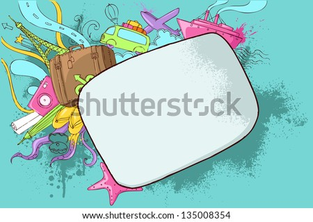 illustration of travel doodle on abstract grungy background - stock vector