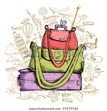 illustration of travel element doddle around luggage - stock vector