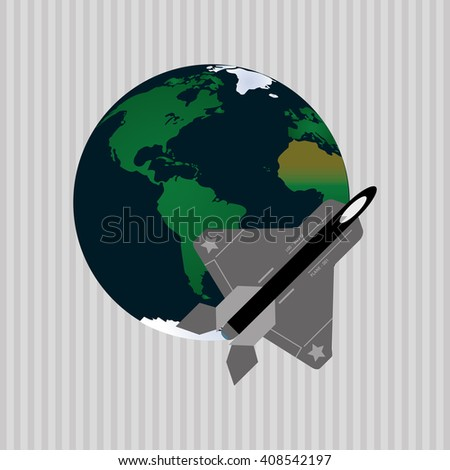 Illustration of travel with airplane, editable vector