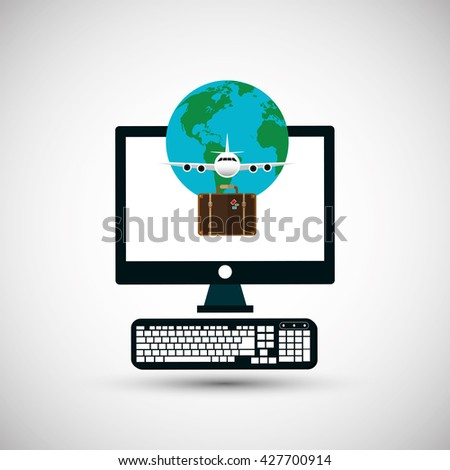 Illustration of travel with airplane, editable vector - stock vector