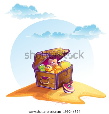 Illustration of treasure chest - stock vector