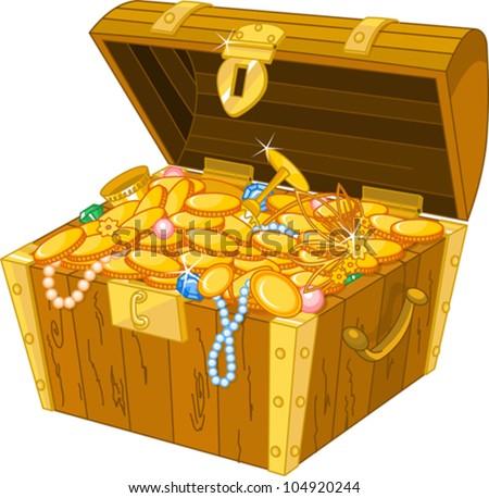 Illustration of treasure chest full of gold - stock vector